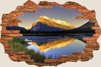 3D Hole in Wall Exotic Mountain Range View Wall Stickers Art Decal Wallpaper S13
