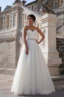 Sleeveless White/Ivory Wedding Dress Lace Tulle Bridal Gown Custom 4 6 8 10 ++