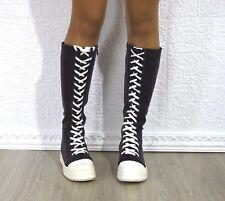 Stivale donna sneakers alta al ginocchio con stringhe eco pelle colore nero