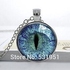 Cúpula de vidrio cabujón con colgante cadena Collar Gótico Steampunk: Azul Ojo de Gato de Dragón