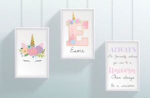 Set Of 3 - A4 Personalised Unicorn Print ANY Name & Initial Gift Pink NO FRAME