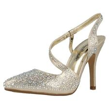 Ladies Anne Michelle Glitter Diamante Stiletto HEELS Court Shoes F9812 Gold UK 6