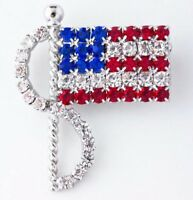 PATRIOTIC 4TH OF JULY RED, WHITE & BLUE RHINESTONE AMERICAN FLAG BROOCH
