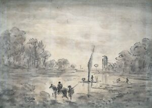 Attributed Original early c19th Antique Drawing Study Figures in Lake Landscape