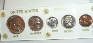 1950 US 5 Coin Proof Set Silver Franklin Half Dollar 50c 25c 10c 5c 1c Toned