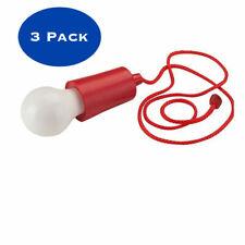 3Pack Pull Cord 1Watt LED Bulb Handing String Light Home Decor Outdoor Red Color