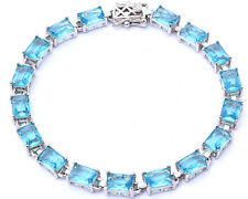 17.50ct Radiant Cut Aquamarine .925 Sterling Silver Bracelet7 1/2""""