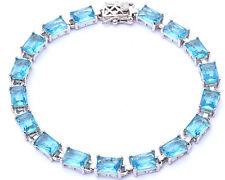 "17.50ct Radiant Cut Aquamarine .925 Sterling Silver Bracelet7 1/2"""""
