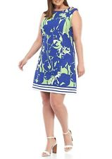 NWT JULIAN TAYLOR BLUE GREEN CAREER SHIFT DRESS SIZE 14 W WOMEN $98