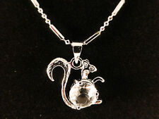 Gold Plated Squirrel Necklace Austrian Crystals 18k White