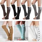 1 Pair Women  Crochet Knit With Button Leg Warmers Lace Trim Cuffs Boot Socks