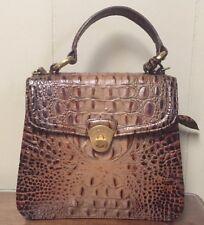 Brahmin Brown Leather Satchel With Detachable Strap Purse