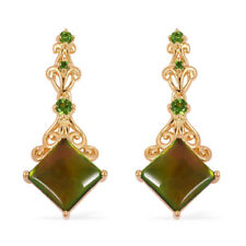 Canadian Ammolite Russian Diopside 14K Yellow Gold over SS earrings
