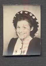 Vintage Photo Cute Girl w/ Dingle Ball Hat in Photobooth 674775