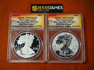 2012 S REVERSE PROOF SILVER EAGLE ANACS RP70 PR70 FIRST DAY ISSUE SAN FRAN SET