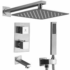 Brushed Shower Faucet Set Tub Spout Bathroom and 10 inch Square Rain Shower Head