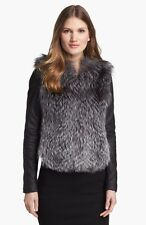 VINCE Leather Sleeve Silver Fox Jacket Coat Size M $2175  Sold Out!