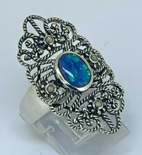 Opal Ring Opal Blue & Opal Synth. 925er Silver Antique Style #52