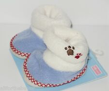 CARTERS JUST ONE YEAR BOYS BLUE PAW PRINT WARM FUZZY NEWBORN SLIPPERS NEW