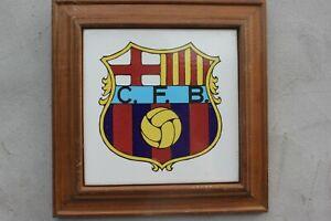 Vintage FC Barcelona terracotta Logo Wood Framed Barca Sign Football Fans birthd