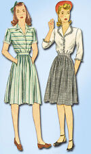 1940s Vintage Simplicity Sewing Pattern 4682 WWII Misses Skirt and Blouse Sz 30B