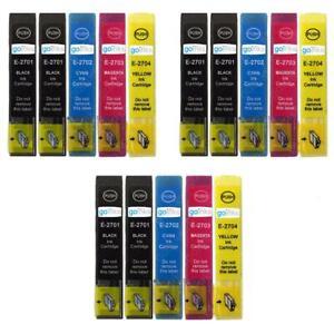 15 Printer Ink Cartridges (Set+Bk) for Epson WorkForce WF-7110DTW & WF-7720DTWF