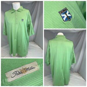 Peter Millar Kinloch Golf Polo Shirt XL Men Green Stripe Cotton YGI E0-347