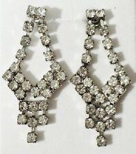 boucles d'oreilles percées bijou vintage couleur argent cristaux diamant * 3603
