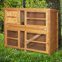 4ft Chartwell Double Decker XL Rabbit Hutch Guinea Pig Cage Wood Deluxe Pet Home
