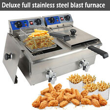 20L Commercial Deep Fryer Countertop Stainless Steel Dual Tank Restaurant 3400W
