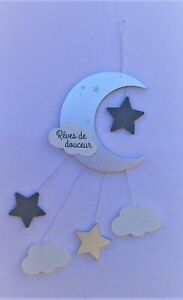 """Kids Wall Hanging Moon with White/Grey/Silver Drops  """"Dreams of Sweetness""""  New"""