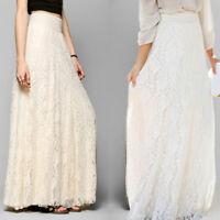 Women Summer Boho Lace Long Skirt Tulle Dress Solid Elegant Fashion Solid Hot