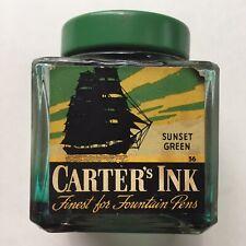 Vintage Carter's Fountain Pen Ink Bottle Sunset Green Color Sailboat Label