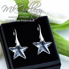 Pendientes de plata 925 Estrellas-Crystal Clear 20mm cristales de Swarovski ®