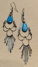 Exquisit Light Weight Sterling Silver 4 inch Drop/Dangle Blue Turquoise Earrings