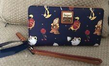 NWT Dooney & Bourke Disney Beauty & the Beast Kalbsleder Geldbörse Rose