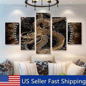 5Pcs Set Painting Animal Dragon Canvas Print Picture Home Wall Art Decor