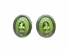 925 Sterling Silver Peridot &  Diamond set beautiful oval stud earrings