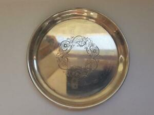 1960's Vintage Soviet Russian Gilt Sterlign Silver 875 Saucer Plate Marked 96.8g