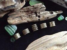 5 x Bronze Dreadlock Beads Celtic Viking Beard Rings Mix 6-7mm Hole Antique UK