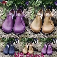 Women Fashion Retro Flat Shoes Ladies Round Toe Loafers Button Casual Slip On US