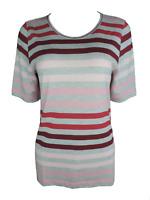 Joy Damen T-Shirt ANJA Kurzarm Gestreift Grau/Rosa/Rot Gr. 36 38 40 42 46 48 50