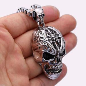 Collana con Pendente Cranio Teschio-Rock Punk-Acciaio Inossidabile-Bustina Regal