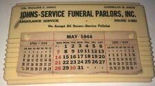 Vintage 1944 Funeral Calendar Brooklyn, NY Johns Service Funeral Parlors 3-5281
