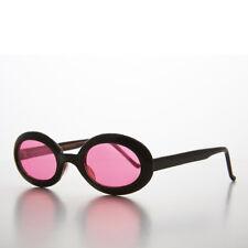 Pink Small Oval Colored Lens Vintage 90s Sunglass Black Frames - Gem