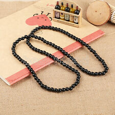 """Plain Wood Beads Black Necklace 28"""" Long Hip-Hop Rosary Beaded Necklace Chain"""