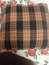 Vintage orange and black plaid with turquoise back pillow