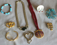 9 piece Jewelry Lot Mixed - Vintage Costume - Brooch Necklace Bracelet Earrings