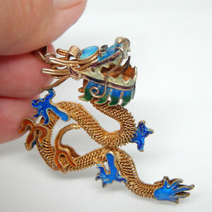 GOLD GILT STERLING SILVER CHINESE DRAGON ENAMEL INLAY ASIAN PENDANT NECKLACE