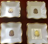 (4) Coalport Bone China England King Tut Egyptian Mint Nut Pin Trinket Dishes